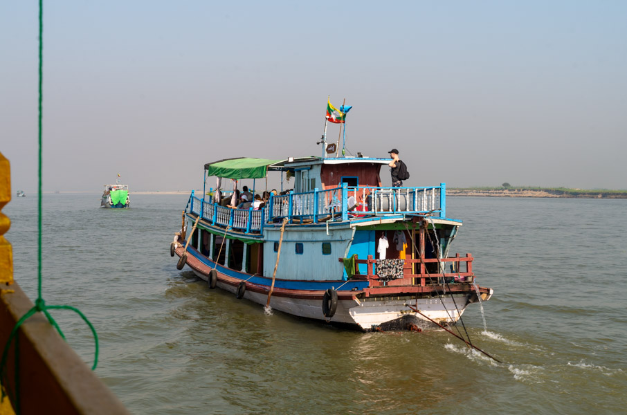 Burmese ferry ship with tourists
